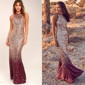 Lulus infinite Dreams Ombre Sequin Maxi Dr…